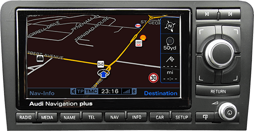 Audi RNS-E navigation plus bluetooth streaming musik spotify