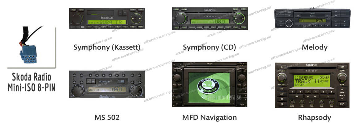 Skoda original radio AUX-in installera 8PIN